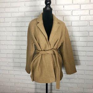 J. Crew Camille shortwrap coat Italian boiled wool